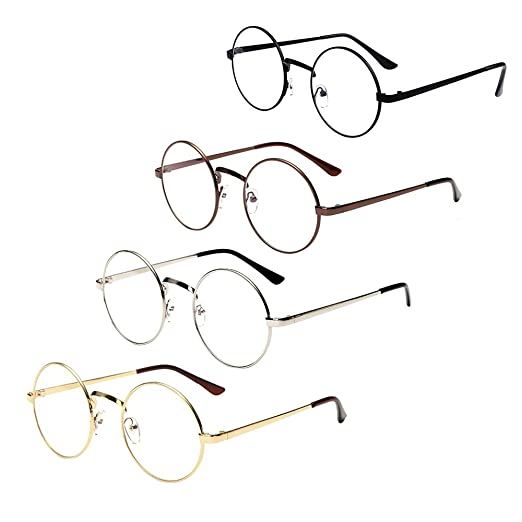 28f40a7b71 Littlegrass Round Circle Frame Vintage Large Clear Lens Glasses Metal Brown  Black Silver Gold (4