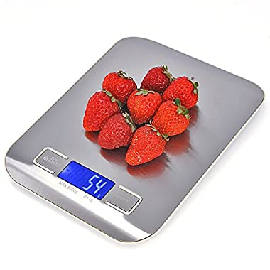 Doxgo Digital Kitchen Food Scale 11lb/5kg with g/oz/lb/ml Switchable, Stainless Steel and Backlit LCD Display