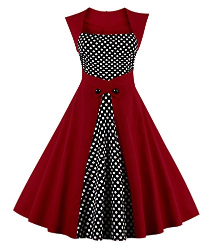 50s 40s Pin - Killreal Women's 1950's Vintage Polka Dot Print Cocktail Party Bridesmaid Dress Wine Red 4X-Large