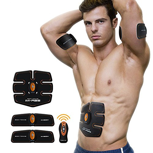 Cszlove Wireless Abdominal Muscle Toner Body Muscle Trainer Electronic Muscle Stimulation Body Fitness System ABS Fit Body Fit Arm Body Massager for Men - Orange by Cszlove