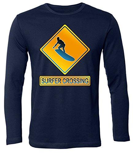 SURFER CROSSING hombre manga Larga camiseta Tamaño S to XXL varios colores marina / Blanco