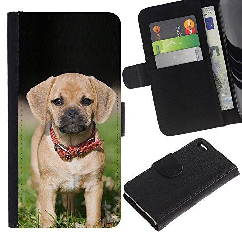 LASTONE PHONE CASE / Luxe Cuir Portefeuille Housse Fente pour Carte Coque Flip Étui de Protection pour Apple Iphone 4 / 4S / Beagle Pug Puggle Puppy Dog Breed