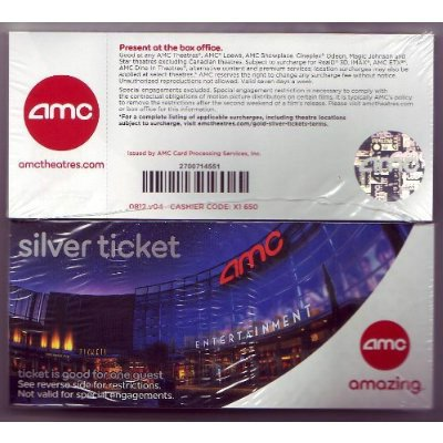 photograph about Amc Printable Tickets called 4 (4) AMC SILVER Knowledge TICKETS Under no circumstances Expire!: Amazon