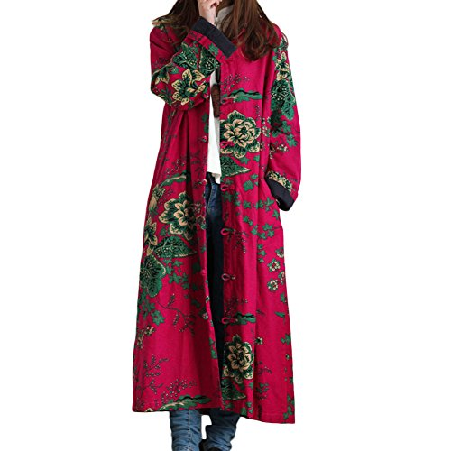 Quilted Frog (LZJN Women Trench Coat Floral Print Long Jacket with Pockets (Red))