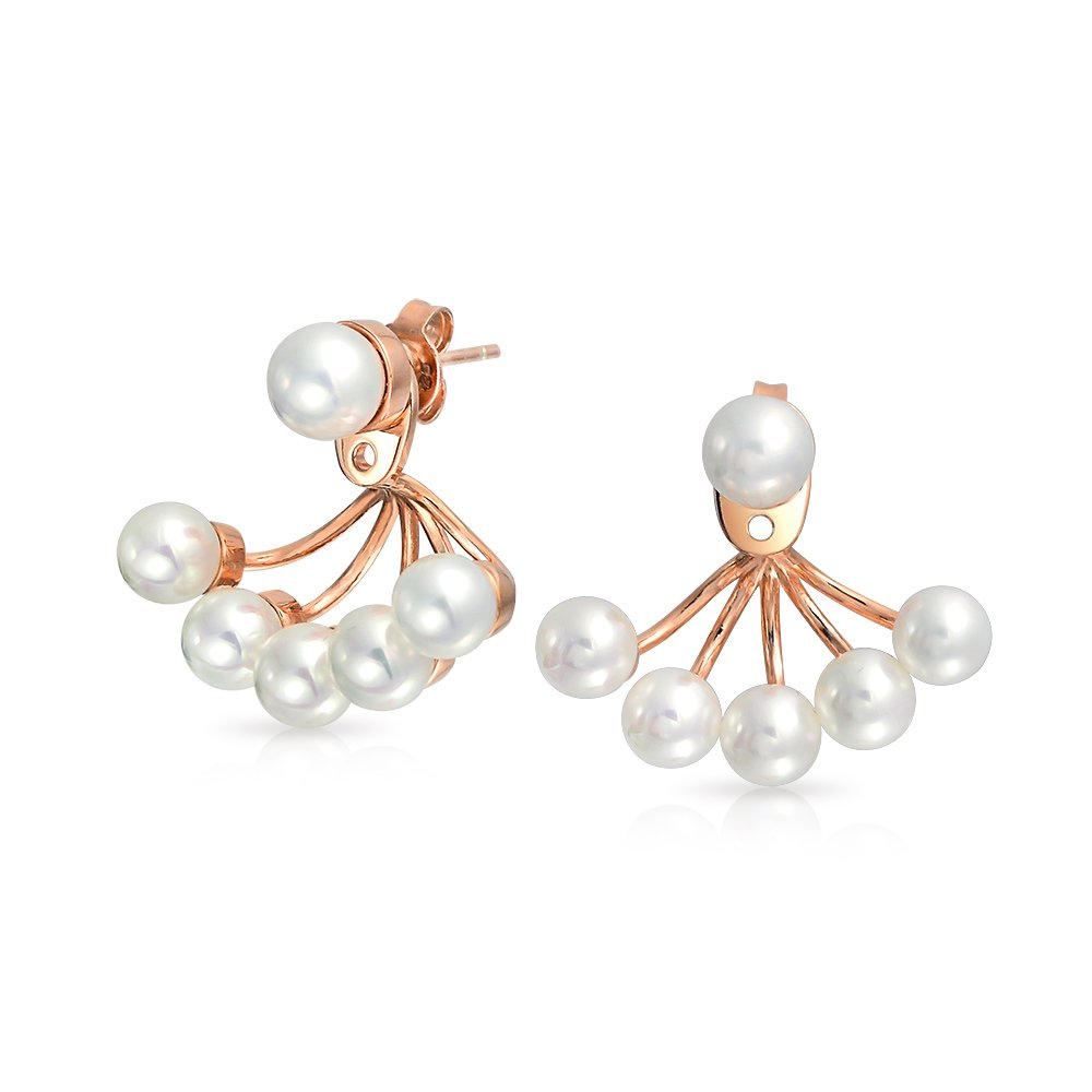 Bling Jewelry Simulated Pearl Front Back Rose Gold Plated Ear Jacket Earrings PFS-TN-0635