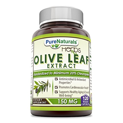 Pure Naturals Olive Leaf Extract -150 Mg, 120 Veggie Capsulesper Bottle - Standardized to Contain 20% Oleuropein (30 mg) - Antimicrobial & Anti-oxidant Properties*- Supports Immune Function*