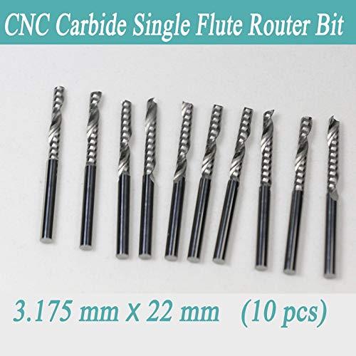 10 fresadoras de carburo de una sola flauta de 3,175 x 22 mm para grabado CNC: Amazon.es: Industria, empresas y ciencia