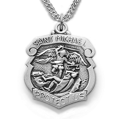 Sterling Silver Patron of Police Officers Saint Michael Shield Pendant, 3/4 Inch (Officer Shield)