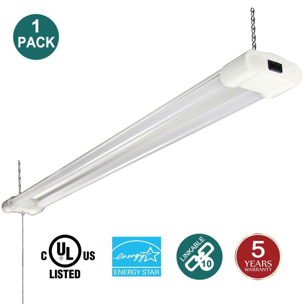 (4 Pack) Linkable LED Shop Light with Pull Chain, 40W (120W Equivalent) 5000K Daylight 4000 Lumens UL & Energy Star, 4FT Indoor Utility Lights for Garage, Workshop, Basement kadision