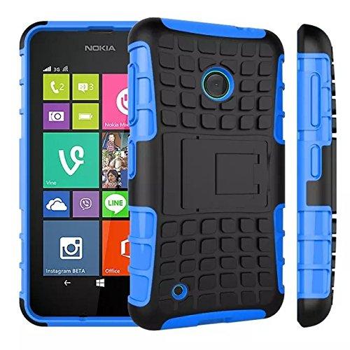 YHUISEN Patrón de neumático de doble capa armadura de amortiguación de la caja de protección con Kickstand para Microsoft Lumia 530 ( Color : Black ) Blue