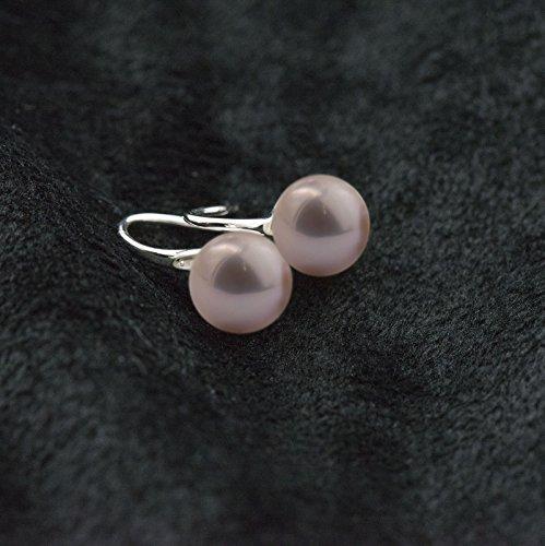 cishop Argent Sterling 925Boucles d'oreilles Perle de culture d'eau douce bouton violet Boule Dangle-Boucles d'Oreilles Pendantes Femme -