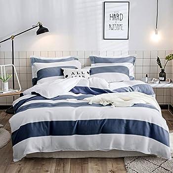2f794338c9 Merryfeel Cotton Duvet Cover Set,100% Cotton Waffle Weave Duvet Cover Set -  King Blue