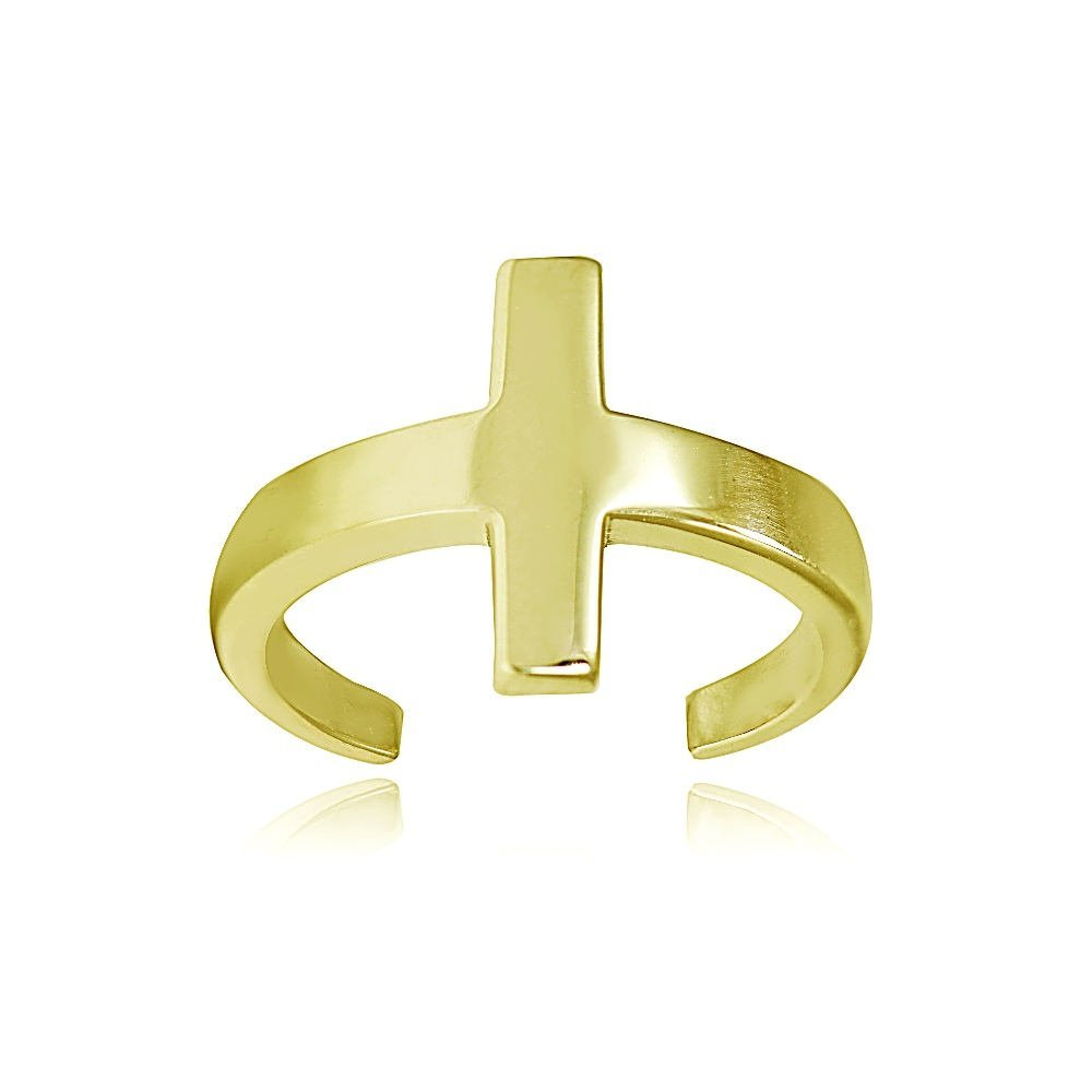 Hoops & Loops Yellow Gold Flash Sterling Silver Polished Cross Toe Ring
