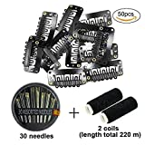 50Pcs Wig Clips 32mm Snap Clips For Hair Extension I Shape Hair Clips Tools 6 Teeth Black Color Hair Extension Clips (Black)