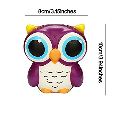 Sagton Adorable Owl Squishy Slow Rising Cartoon Doll Cream Scented Stress Relief Toy (Purple): Clothing