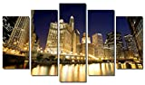 Picture Sensations Framed 5-Panel canvas Art Print, Downtown Chicago River City Skyline - 60''X36''