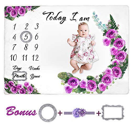 """MCGMITT Monthly Milestone Blanket for Baby Girls, Watch Me Grow Fleece Blankets for Pictures with Photography Props for Newborn Infants Shower Gift (60"""" x 40"""")"""