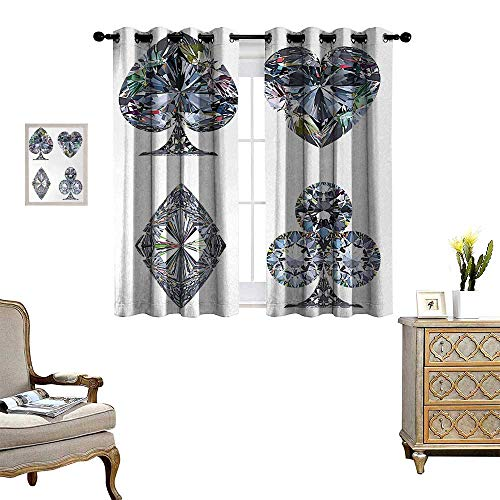 (Anyangeight Diamond Window Curtain Drape Playing Cards Diamonds Hearts Clubs Spades Casino Theme Charm Art Graphic Design Decorative Curtains for Living Room W63 x L45 White Silver)
