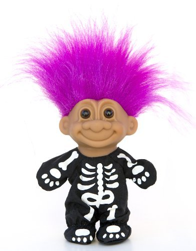 Russ Berrie My Lucky Skeleton Troll Doll - Fushia Hair -