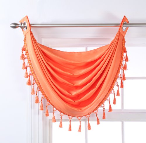 Stylemaster Skyler Grommet Waterfall Valance with Beaded Trim, 35-Inch by 37-Inch, Tangerine (Fuchsia Beaded Trim)