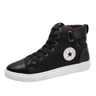 ec3a9f7c227fc DENER Men Mid Top Sneakers Shoes, Short Plush Flat Heels Lace up ...