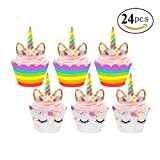 Magical Unicorn Cupcake Decorations – Fun Cupcake Toppers and Cupcake Wrappers for Birthday Parties, Wedding and Baby Showers – Eco-Friendly Unicorn Cupcake Ornaments – Set of 24 by Land of Wood