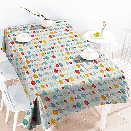 EwaskyOnline Resistant Table Cover,Abstract Colorful Circular Large Dots