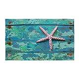 CafePress Starfish and Turquoise 3'X5′ Decorative Area Rug, Fabric Throw Rug