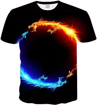 XJWDTX Camiseta De Impresión Digital 3D Agua Fuego Dragón Planeta Verano Camisa: Amazon.es: Deportes y aire libre