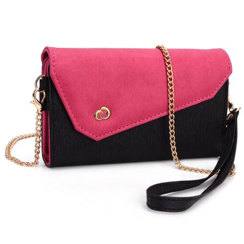 kroo-womens-clutch-wallet-for-smart-phone-with-shoulder-straps-black-and-magenta