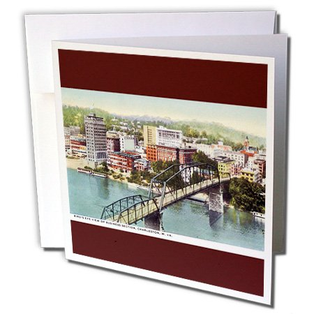 Postcard View Birdseye (3dRose BLN Vintage US Cities and States Postcards - Birds Eye View of Business Section Charleston West Virginia - 12 Greeting Cards with envelopes (gc_170925_2))