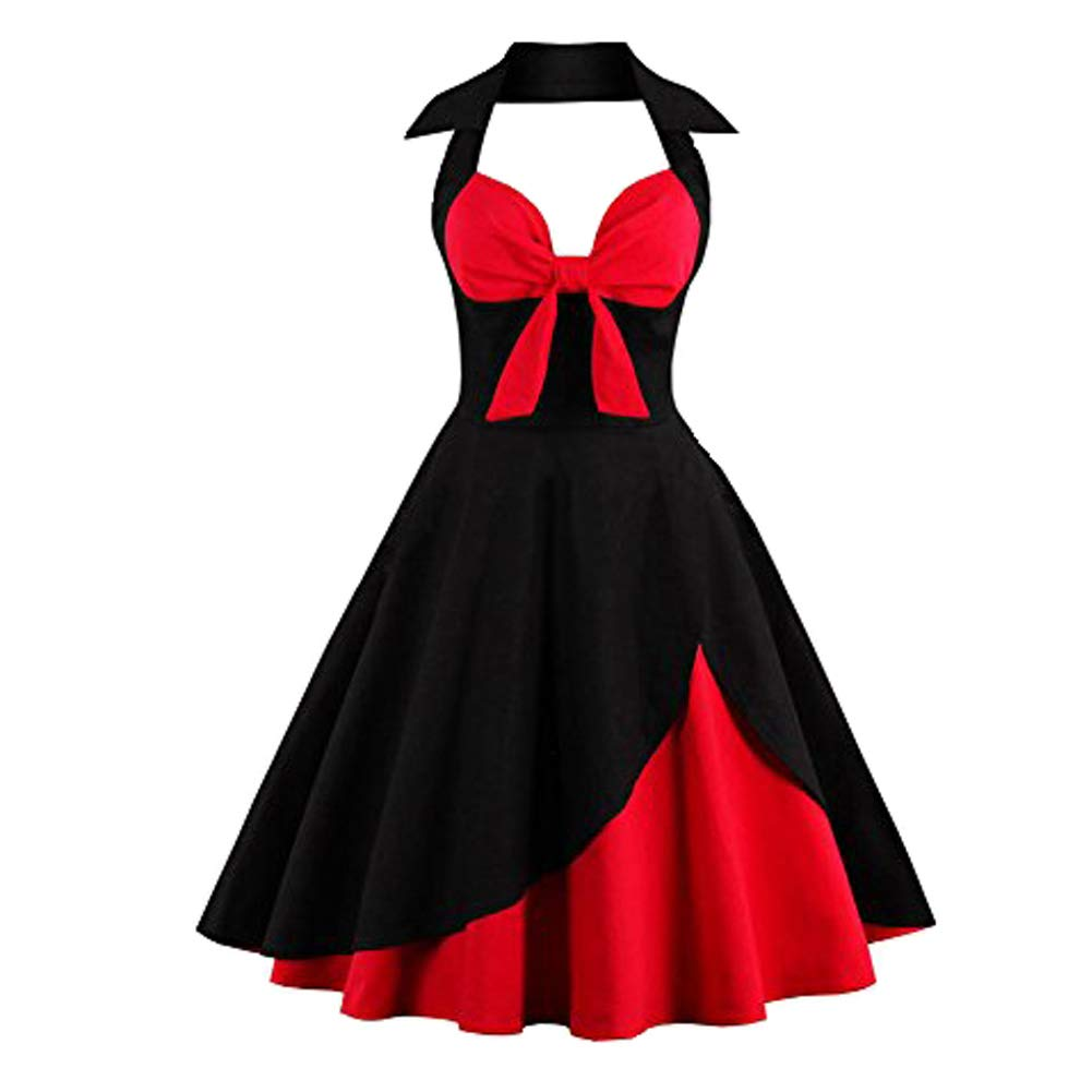 Suroomy Vintage Halter Cocktail Dress 1950S Retro Swing Homecoming Dresses Red & Black S