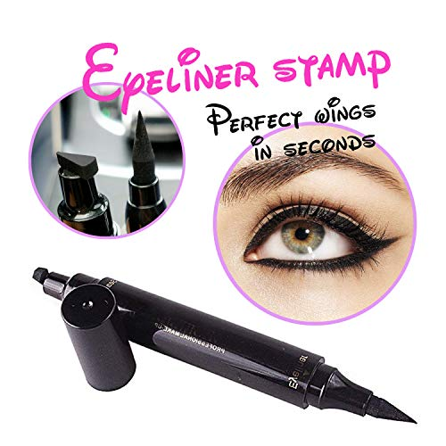 Turelifes Eyeliner Stamp Liquid Eye liner Pen , Waterproof, Smudgeproof, Long Lasting, Easy to Makeup Eyeliner and Cat Eyes, Vamp style Wing Eye Tool