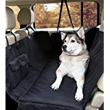 MimChe Dog Car Seat Cover, Padded Luxury Large Car Dog Hammock Style - Nonslip Durable Soft Waterproof Black Mat Blanket Dog Seat Cover, Pet Back Seat Cover For Cars & SUVs With Side Flaps & Pockets. Premium Car Dog Protector