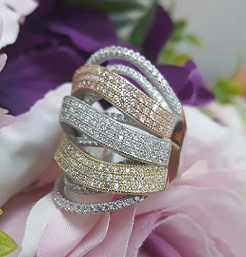 Hot New Fashion Sterling Silver 925 Jewelry Ring CZ 3 Color White,Pink-Gold,Gold (Estate Vintage Jewelry Set)