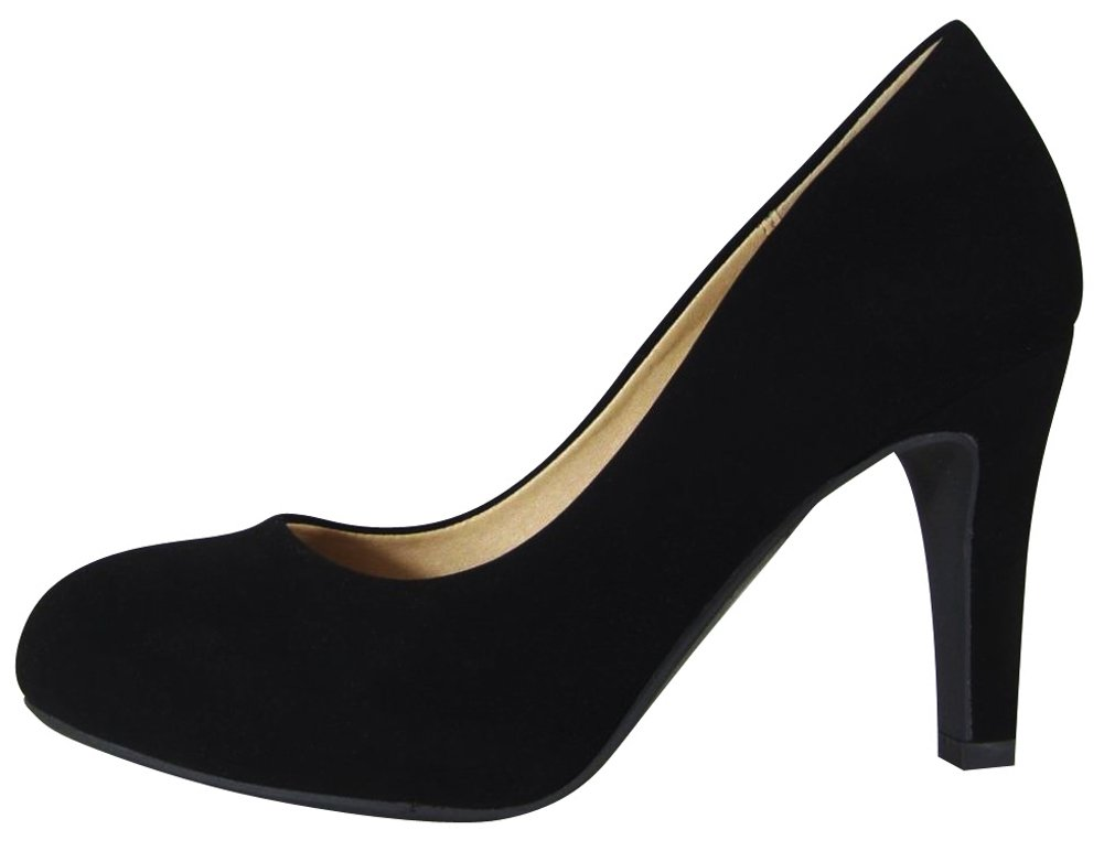 Cambridge Select Women's Slip-On Classic Closed Round Toe High Heel Dress Pump B079Y7LGX3 7.5 B(M) US|Black Nbpu