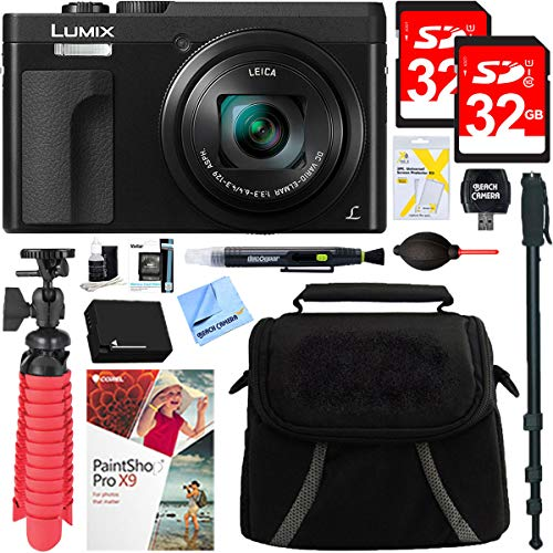 Panasonic DMC-ZS70K Lumix 20.3 Megapixel 4K Digital Camera Black Bundle with 2X...