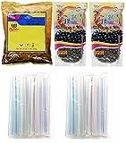 Collection of BOBA Tapioca Pearls for Bubble Tea, Pantai Thai Tea Powder and Boba Jumbo Straws Bubble