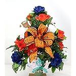 Auburn-Tigers-Navy-Orange-and-White-Roses-3-Vase-Cemetery-Arrangement