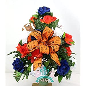 Auburn Tigers Navy Orange and White Roses 3' Vase Cemetery Arrangement 22