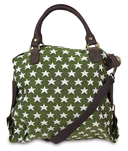 Freyfashion - Made In Italy - Cloth Bag Canvas Womens Stern Grün (34x37)