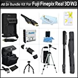 All In Bundle For Fujifilm FinePix Real 3D W3 Digital Camera Includes Extended Replacement NP-50 (1100 mAH) Battery + Ac/Dc Rapid Travel Battery Charger + USB 2.0 High Speed Card Reader + Deluxe Case + 50 Inch Tripod + 67 Inch Monopod + More