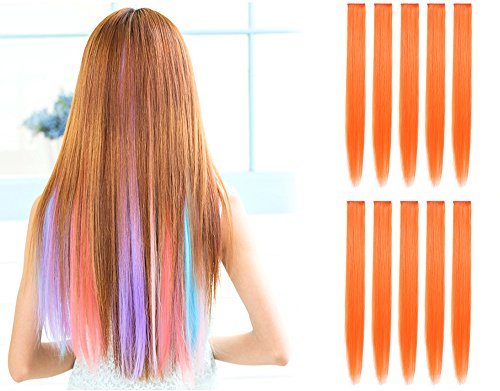 Girls Orange Braid Wig (OneDor 23 Inch Straight Colored Party Highlight Clip on in Hair Extensions Multiple Colors (10 Pcs Orange))