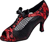 Abby Q-6206 Womens Latin Tango Cha-cha Ballroom Kitten Heel Peep-Toe Lace-up Mesh Dance-Shoes Red M US Size8.5