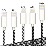 iPhone Charger Cable,Sharllen 3/3/6/6/10FT Nylon Braided Lightning Cable MFi Certified USB Fast Charging&Syncing iPhone Cord Compatible iPhone XS/Max/XR/X/8/8Plus/7/7P/6S P/SE/iPad 5 Pack (Off-White)