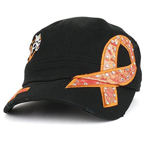 Trendy Apparel Shop Hope Leukemia Cancer Awareness Orange Ribbon Embroidered Jeep Cap - (Leukemia Orange Ribbon)