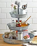 Vintage Galvanized 3 Tier Serving Tray Rustic Country Farmhouse Kitchen