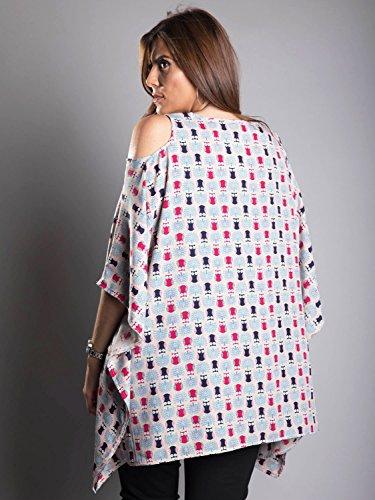 Edmond Boublil Femme Grandes Tunique Manches Poncho Design Chouette - Tunique Motif Taupe
