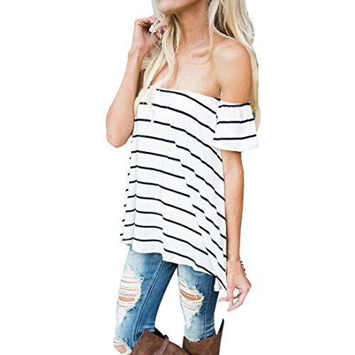 Price comparison product image DDLBiz Women Fashion Striped Irregular T-Shirt Casual Summer Tank Tops Blouse (Asian Size:M)