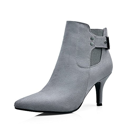 AllhqFashion Womens High-Heels Pointed Closed Toe Imitated Suede Low-Top Solid Zipper Boots, Gray-Buckle, 32